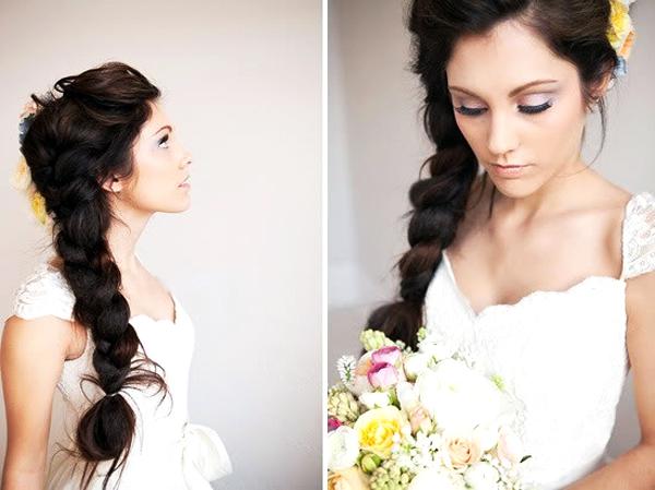 модные свадебные прически с косами