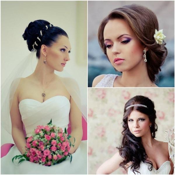 Свадебная причёска на круглое лицо