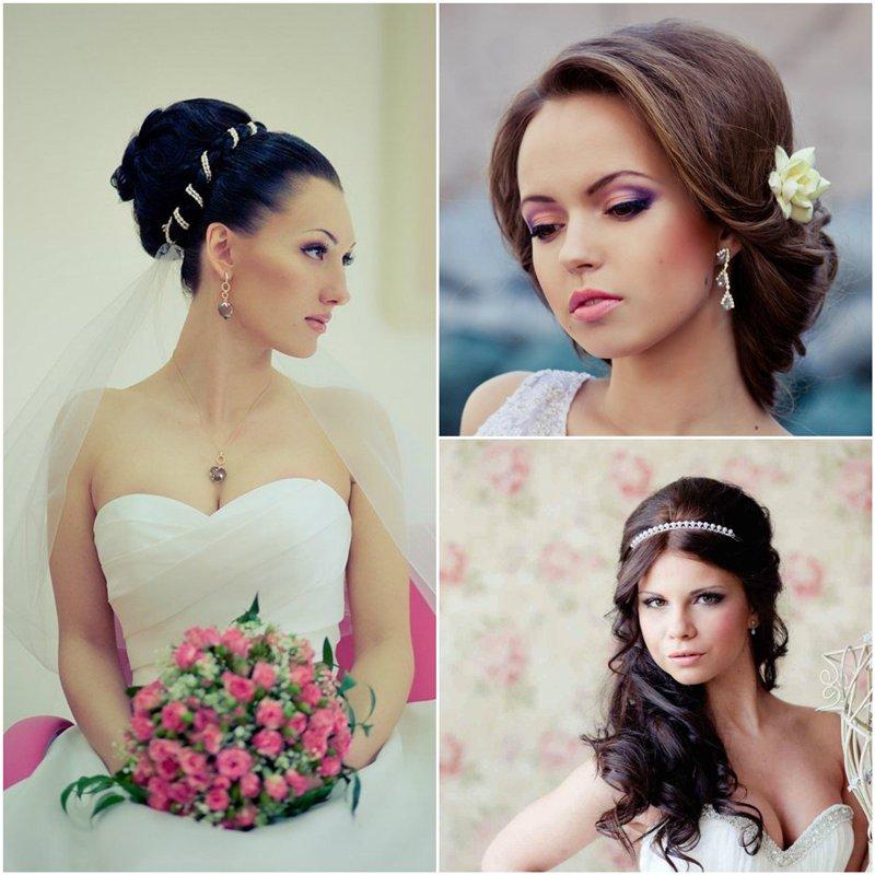 найти свадебные прически на круглое лицо волосы черные