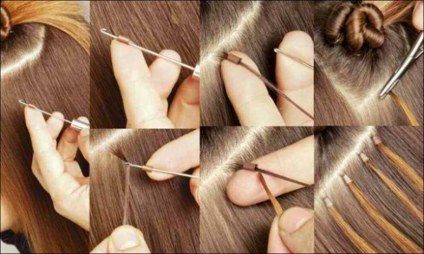 Процесс фиксации искусственных прядей японским способом.