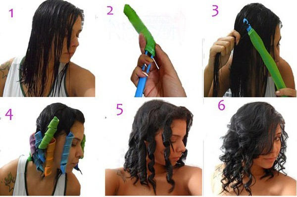 Процесс накрутки волос по шагам на «волшебные» бигуди.