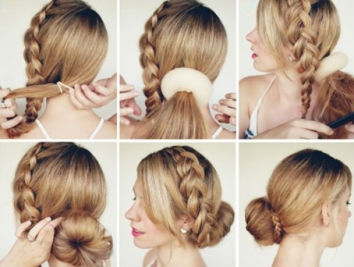 Пучок с косой – этапы создания укладки