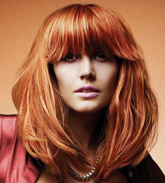 Мелировка на рыжие волосы фото