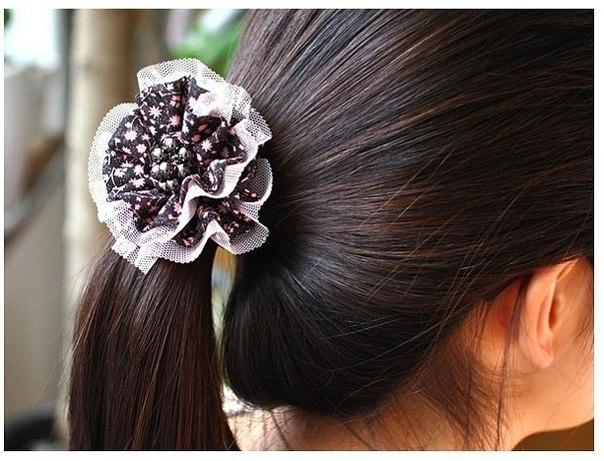 Красивые резинки для волос своими руками из атласных лент