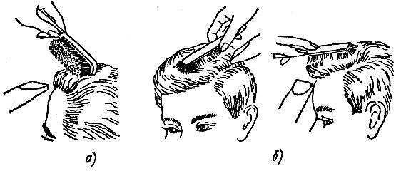 Рисунок а) – направление щетки для укладки без пробора; рисунок б) – направление щетки для укладки с пробором.