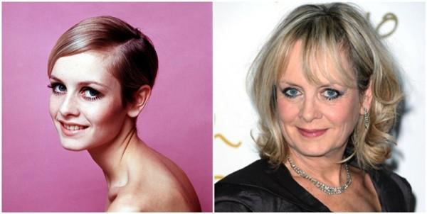 С Твигги началась популярность стрижки пикси. Сегодня 66-летней английской актрисе по нраву объемная стрижка на длинные волосы с градуировкой и челкой (фото 1966 и 2010 г.г.)