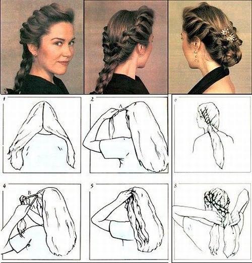 Схема 1 Первый вариант – шикарная корона из кос.