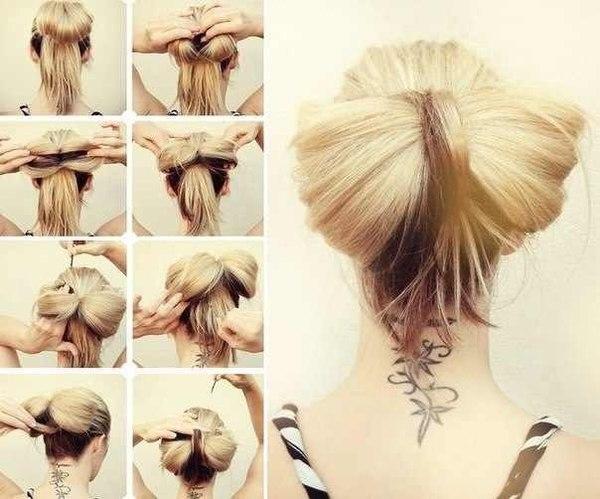 Схема как делать бант из волос