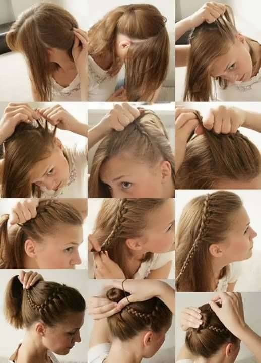 Как заплести в ободок волосы видео