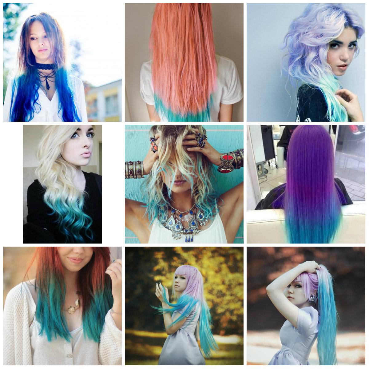 Синие концы на светлых волосах