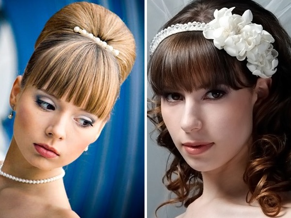 свадебные прически на волос средней длины с челкой