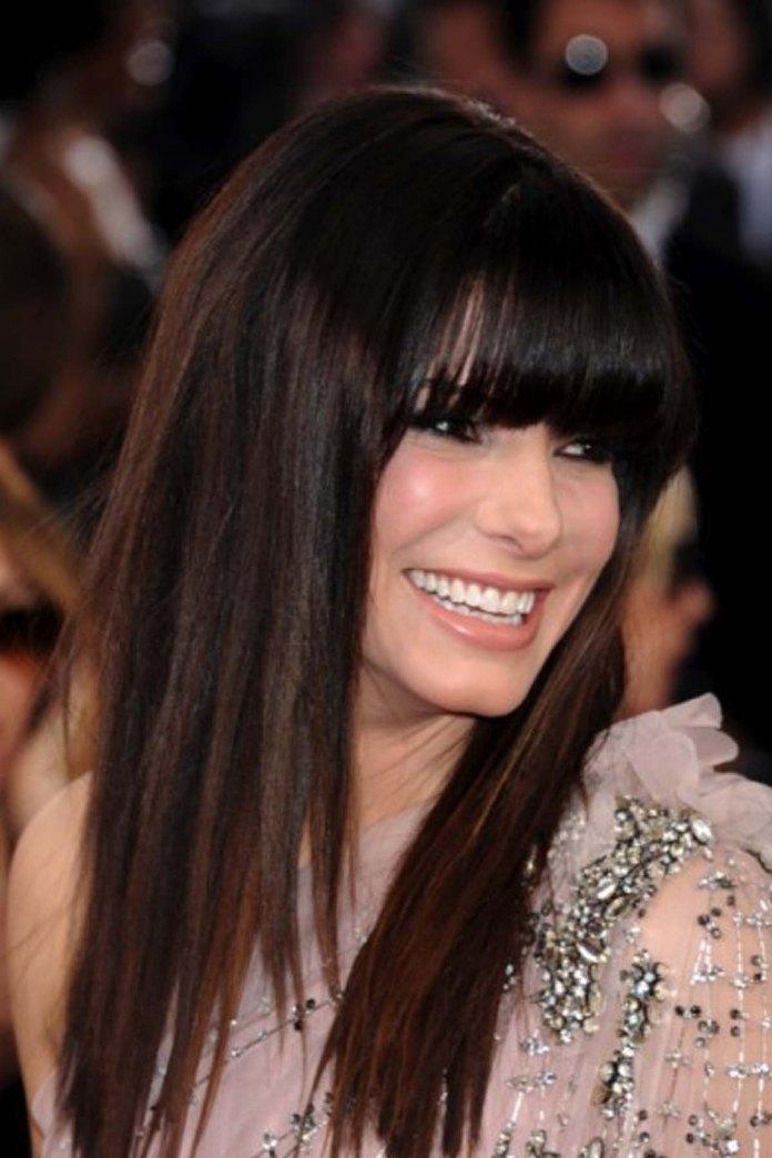 Стрижки на длинные темные волосы с челкой