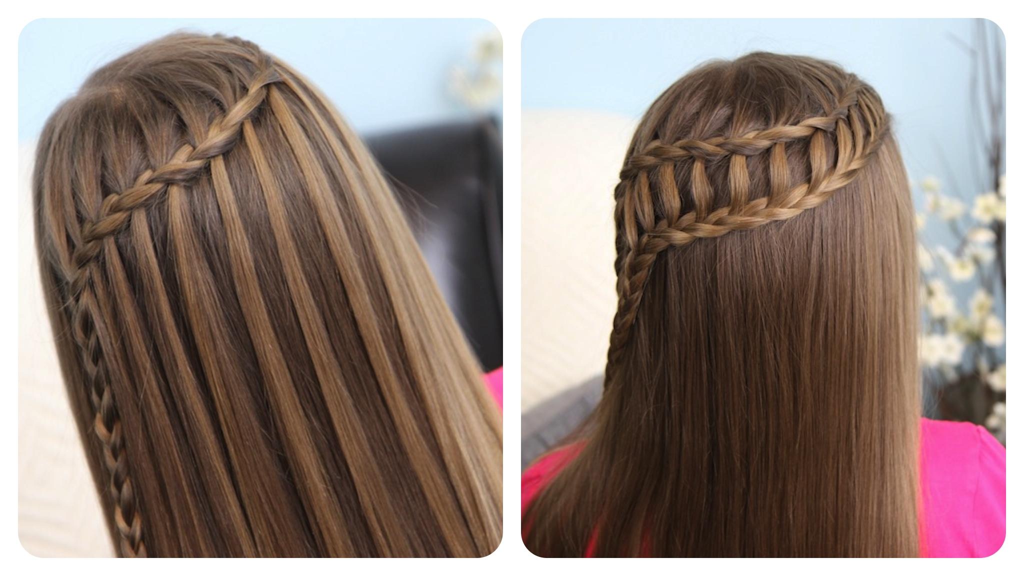 Каскад плетение на длинные волосы