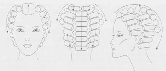 Традиционная схема расположения бигуди на голове.