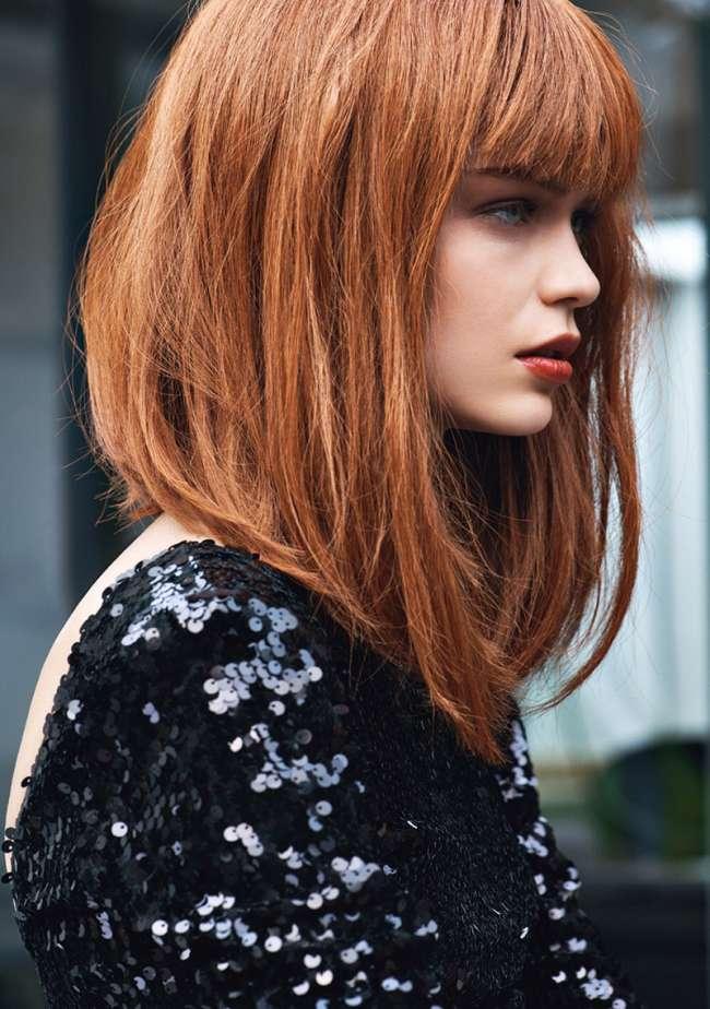 Стрижка боб каре на средние волосы с челкой