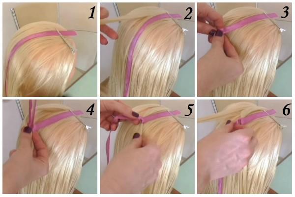 Удобнее всего во время плетения этой косы использовать одинарный декоративный элемент (не нужно складывать его вдвое)