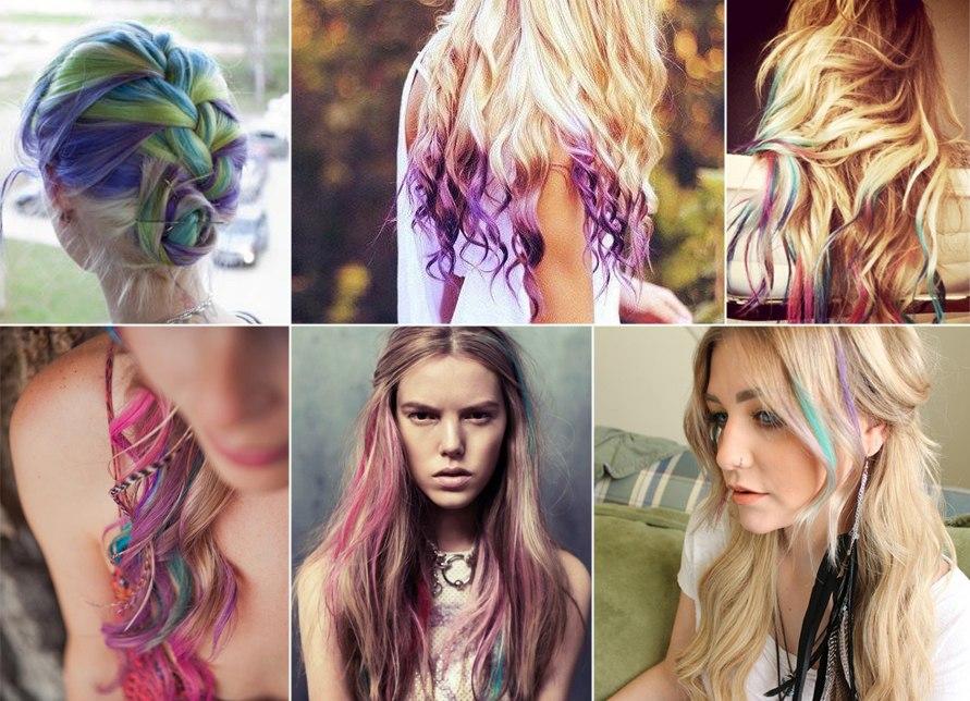 Разноцветные пряди волос как покрасить