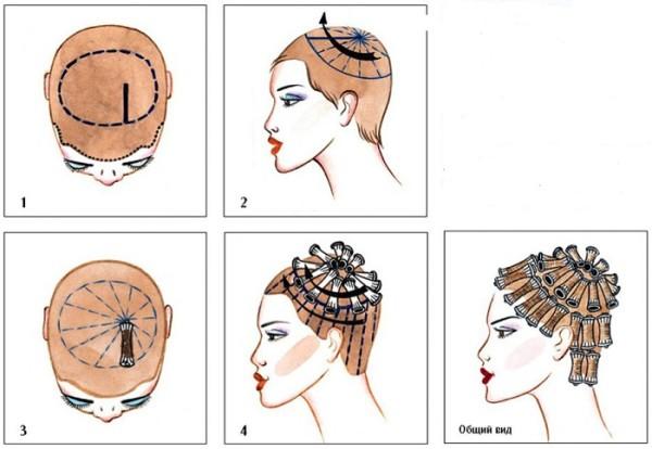 Варианты накручивания волос при выполнении химической завивки: вертикальный метод