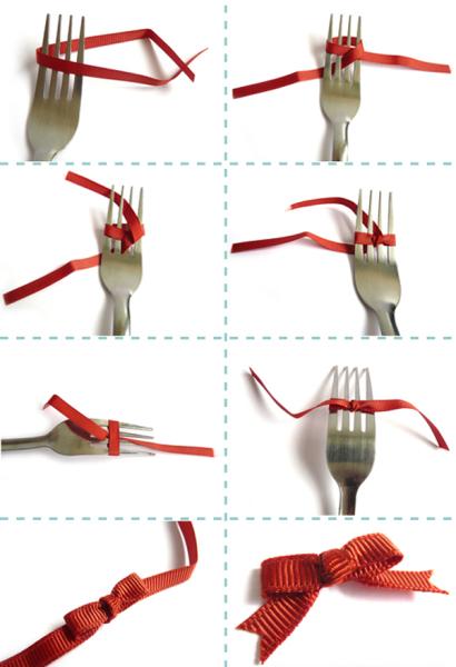 Вилка - удобный инструмент для создания маленького бантика