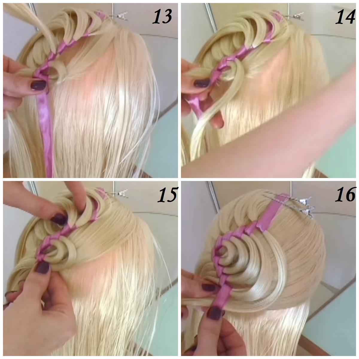 Вывернутые косы с лентой фото пошагово