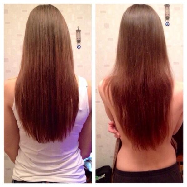 Волосы до и после применения кислоты