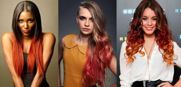 красное амбре окрашивание волос фото