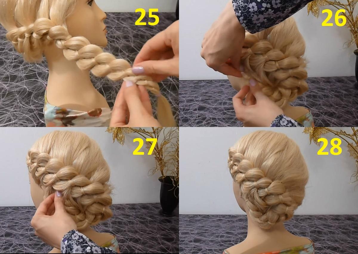 Плетение кос на бок на средние волосы пошаговое для начинающих