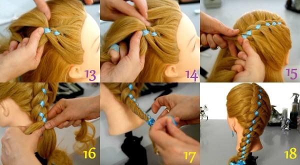 Завершение создания ажурной косы с ленточкой