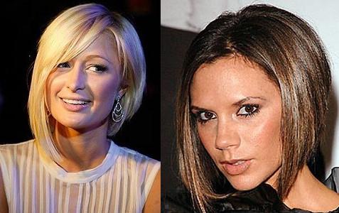 Асимметрия на средние волосы обрела свою популярность во многом благодаря Виктории Бэкхем и Перис Хилтон