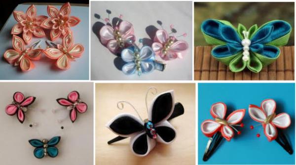 Бабочки в стиле канзаши из атласных лент