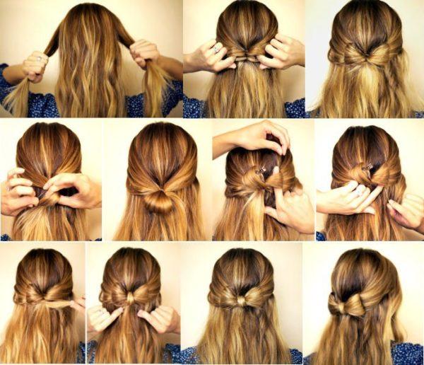 Быстро собрать волосы, чтобы они не мешались можно с помощью легкого бантика из волос, закрепленного сзади шпильками
