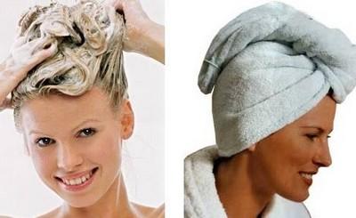 Эффект будет выше, если укутать голову теплым полотенцем, чтобы сохранить средство теплым
