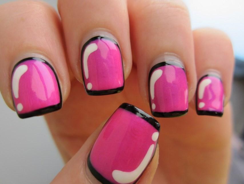Фото дизайна в стиле поп в виде иллюстрированной рамки, обрамляющей форму ногтя