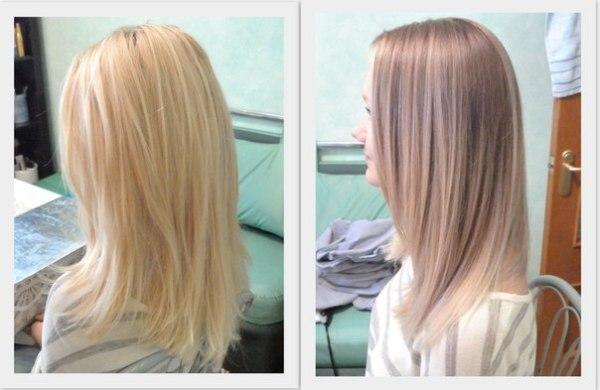 Фото до и после процедуры обратного мелирования