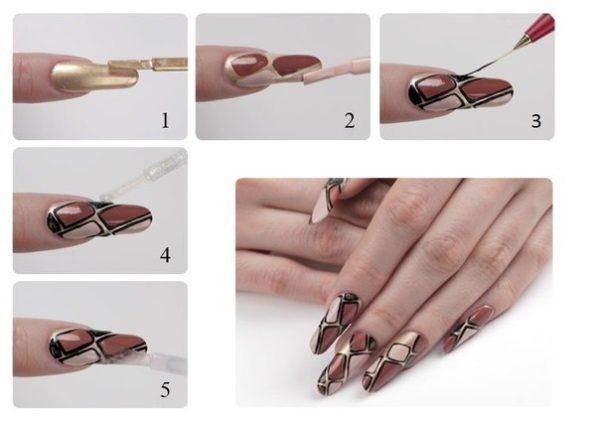 Фото-инструкция одного из вариантов оформления ногтевой пластины в стиле «рептилия»