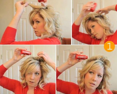 Фото начального процесса укладки волос при помощи пудры.