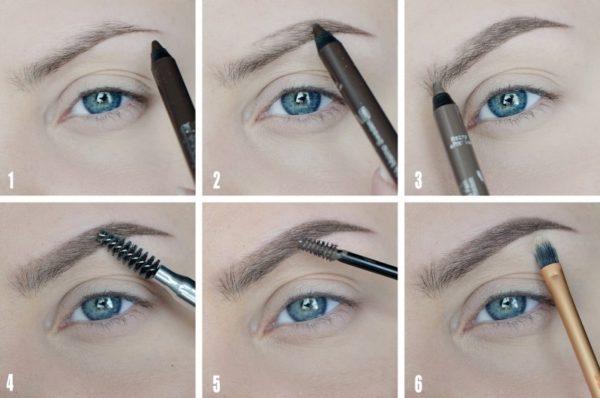 Фото поэтапной самостоятельной коррекции волосков с помощью карандаша, щеточки и кисти