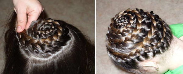Фото процесса создания спиралевидного плетения вокруг головы