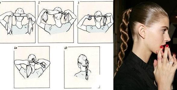 Фото-схема плетения из двух прядей