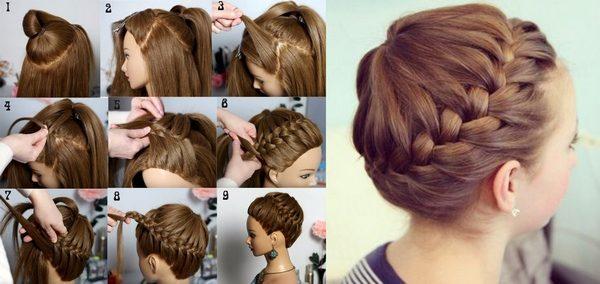 Фото - схема плетения высокой «корзинки» из волос