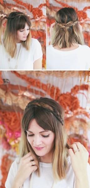 Фото укладки волос с челкой и мелким плетением