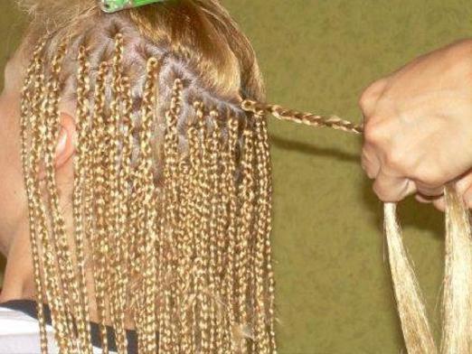 Фото: в процессе плетения.