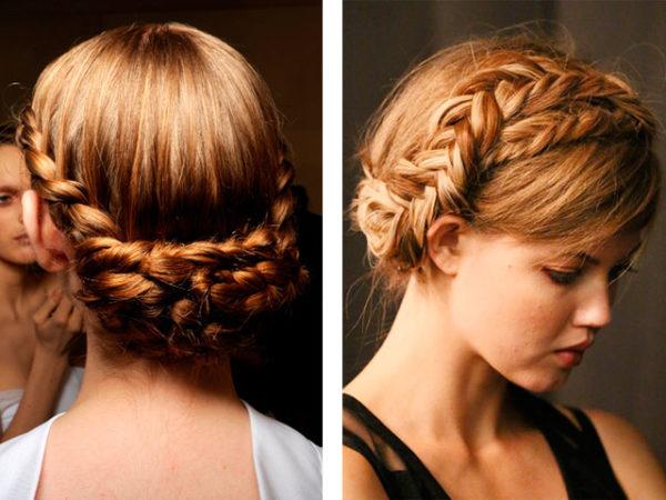 Фото вариантов прически, сложенной из двух кос