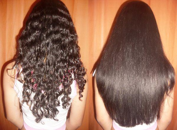 Фото волос до и после процедуры кератинового выпрямления