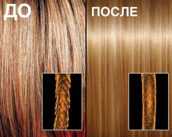 Кератин проникает глубоко в структуру волос и запаивает чешуйки, тем самым, выравнивая локоны и препятствуя их повреждениям