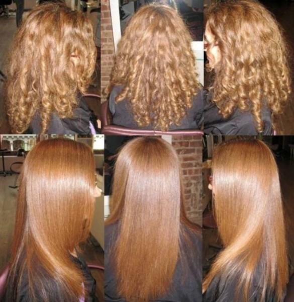 Красивые прямые волосы средней длины после салонных процедур