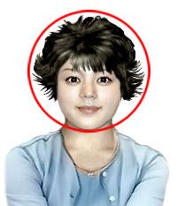 Круглолицым особам следует избегать пышных, а также изогнутых вверх прядок по бокам, как изображено на фото.
