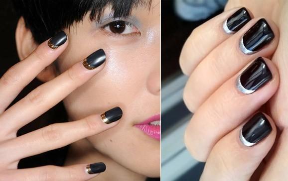 Лунный маникюр можно оформить с помощью изогнутой линии цветным лаком у основания ногтей