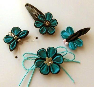 Маленькие заколки канзаши для волос в виде цветов и бабочек
