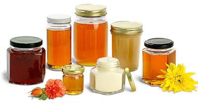 Мед продается в емкостях разного размера